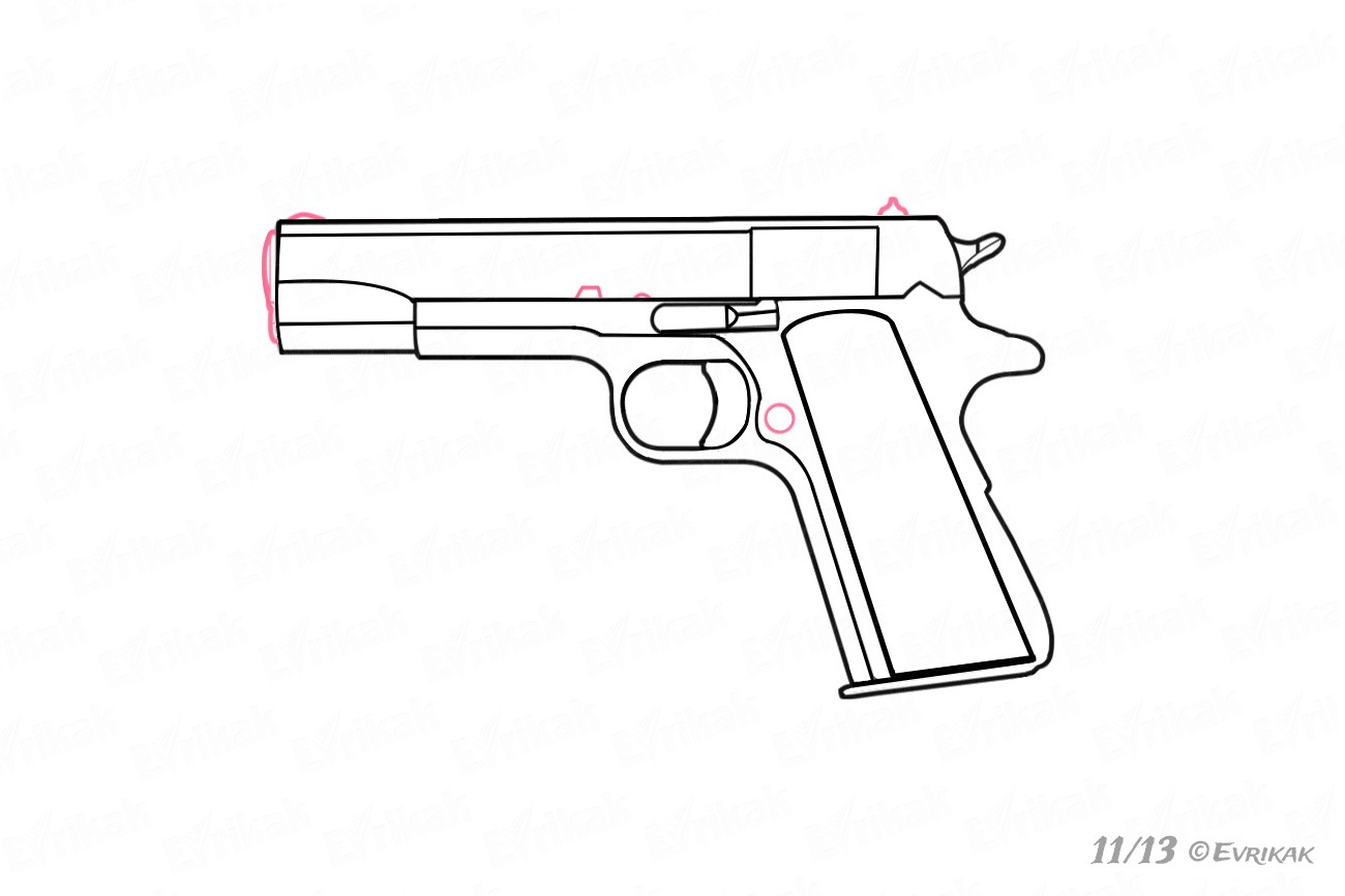 Learn To Draw A Gun Step By Step