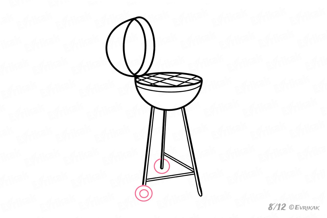 How to draw a barbecue grill step by step