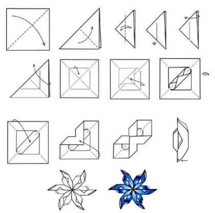 How to fold and cut the paper snowflakes: the most