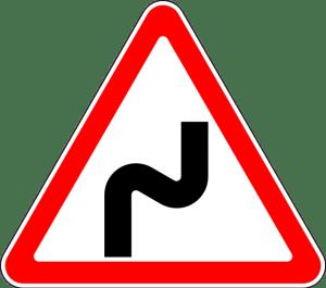 Дорожный знак 1.12.1 Опасные повороты с первым поворотом направо