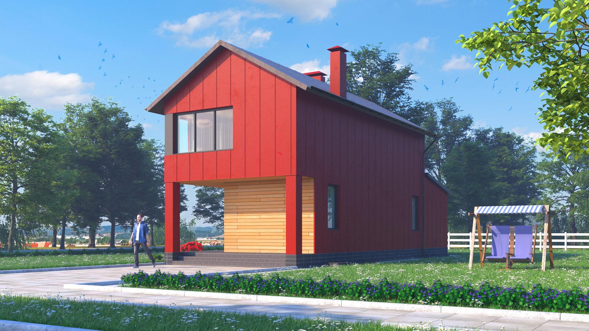 Общий вид дома (вариант 1)