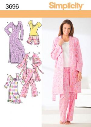 Выкройка Simplicity — Пижама, Ночнушка, Халат - S3696 ()