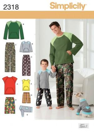 Выкройка Simplicity — Пуловер, Брюки, Шорты для мужчин и мальчиков, одежда для собаки - S2318