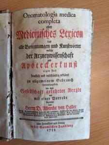 първия медицински речник на немски език от Албрехт фон Халер