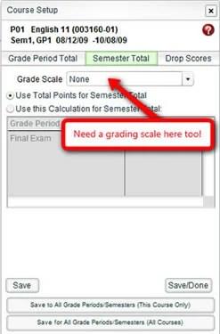 Course Setup - Semester Total Grading Scale