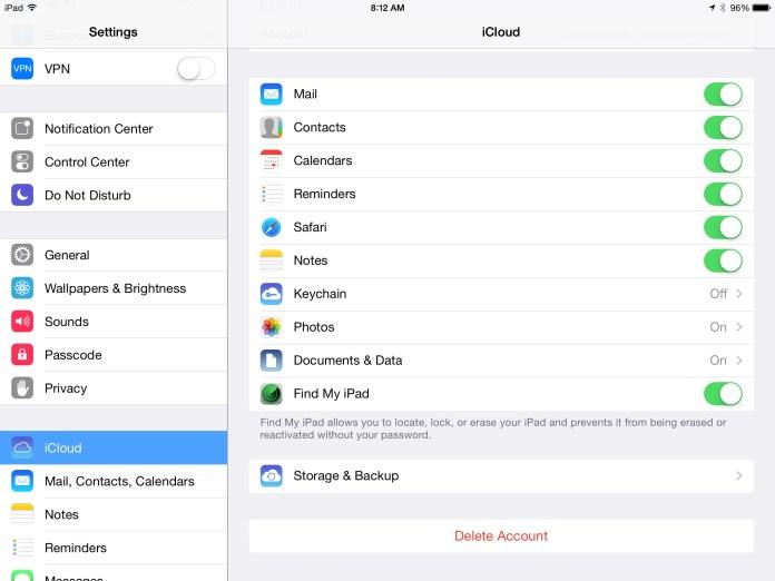 iOS Settings - iCloud Selection