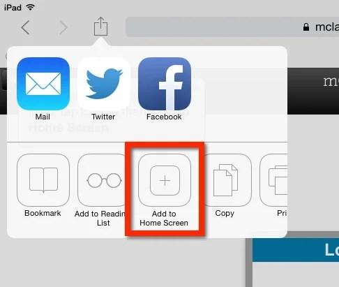 iPad Home Screen Share options