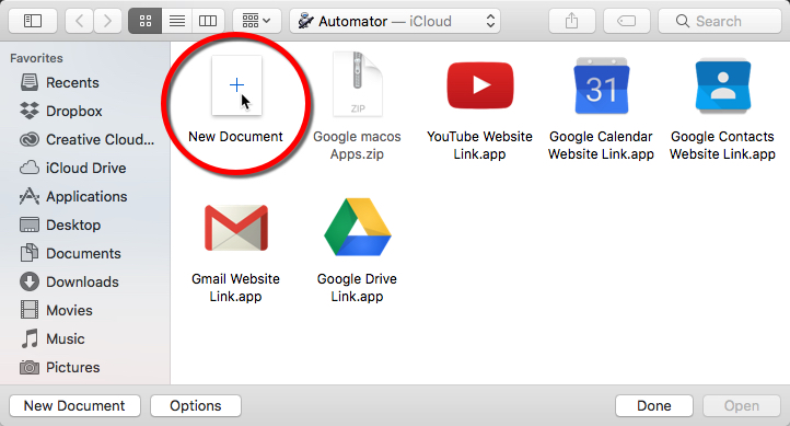 "Click ""New Document"" from the options - GApps for Mac Dock"