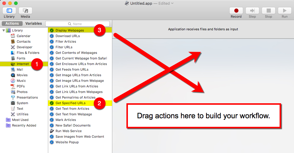 Drag Actions to Workflow -GApps for Mac Dock