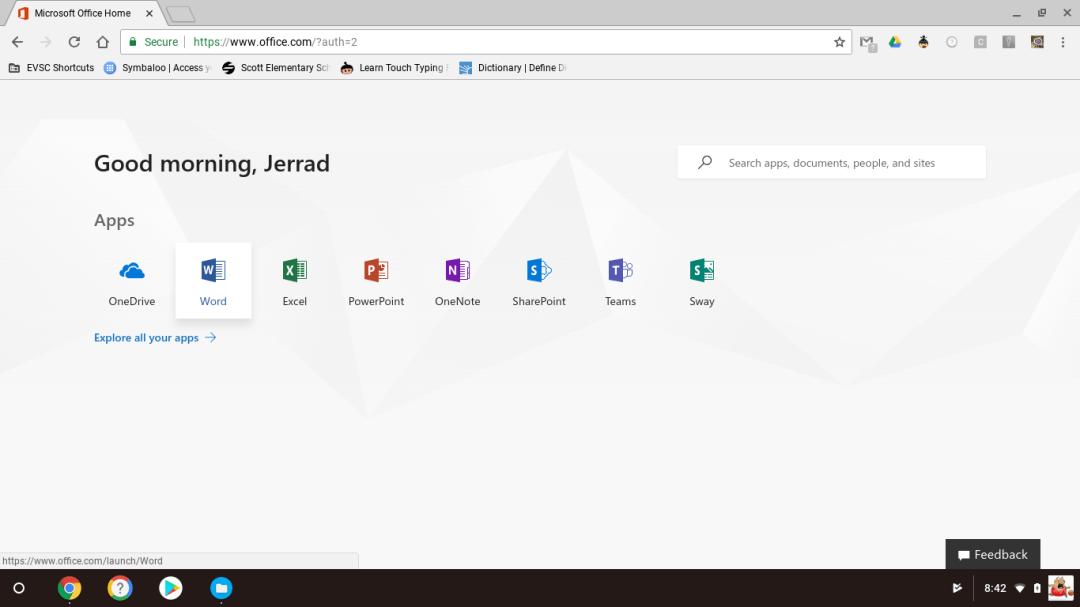 Microsoft Online App Screen