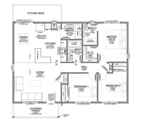 Single Family Floor Plan for Habitat for Humanity