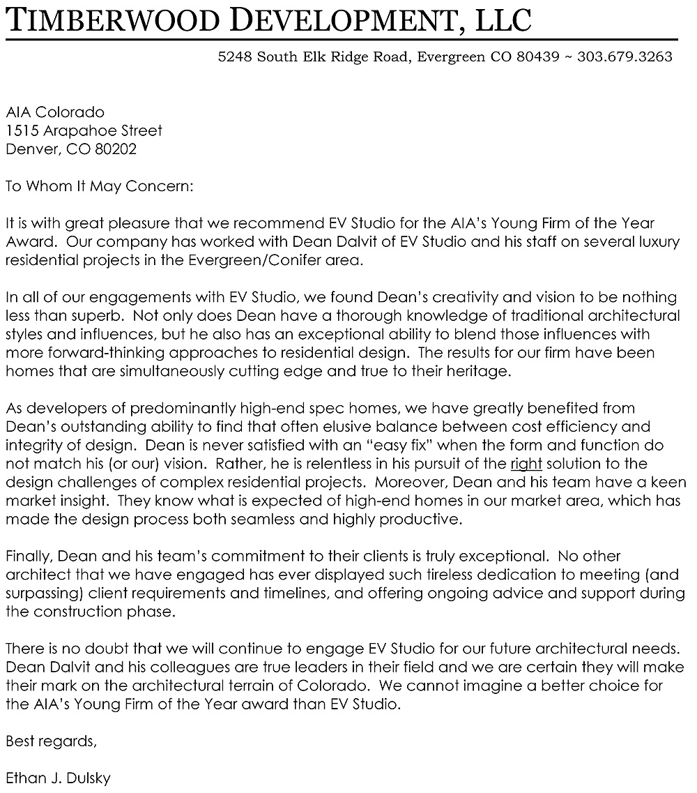 Letter of Recommendation for EVstudio from Timberwood Development  EVstudio Architect Engineer