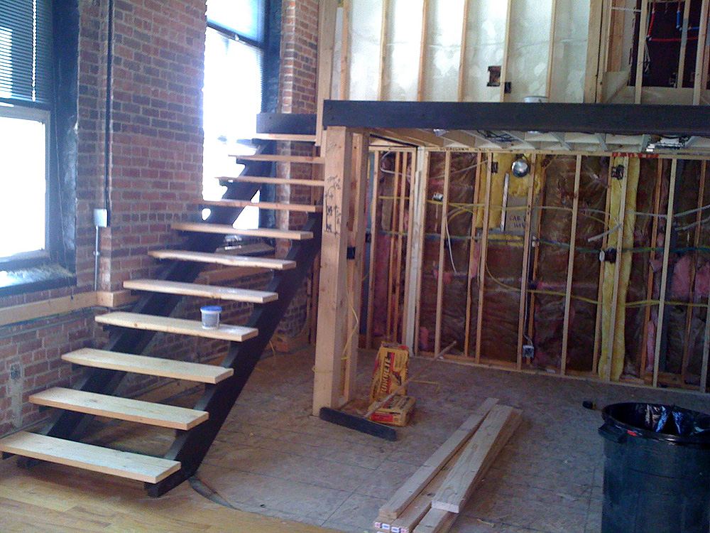 Open Log Stairs: Open Riser Steel Stair With Oak