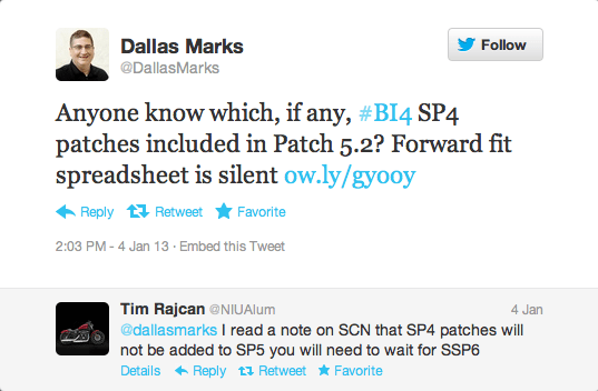 Anyone know which, if any, #BI4 SP4 patches included in Patch 5.2? Forward fit spreadsheet is silent.