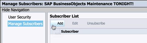 SAP BI 4.2 User Notification Events