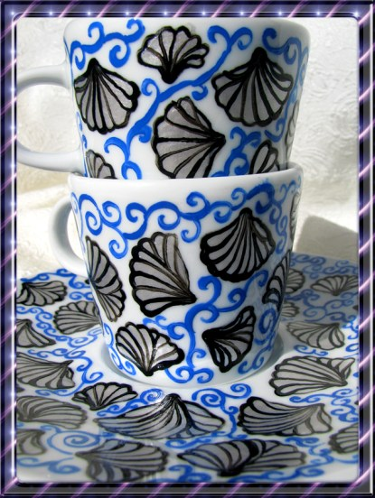ręcznie malowana porcelana muszle