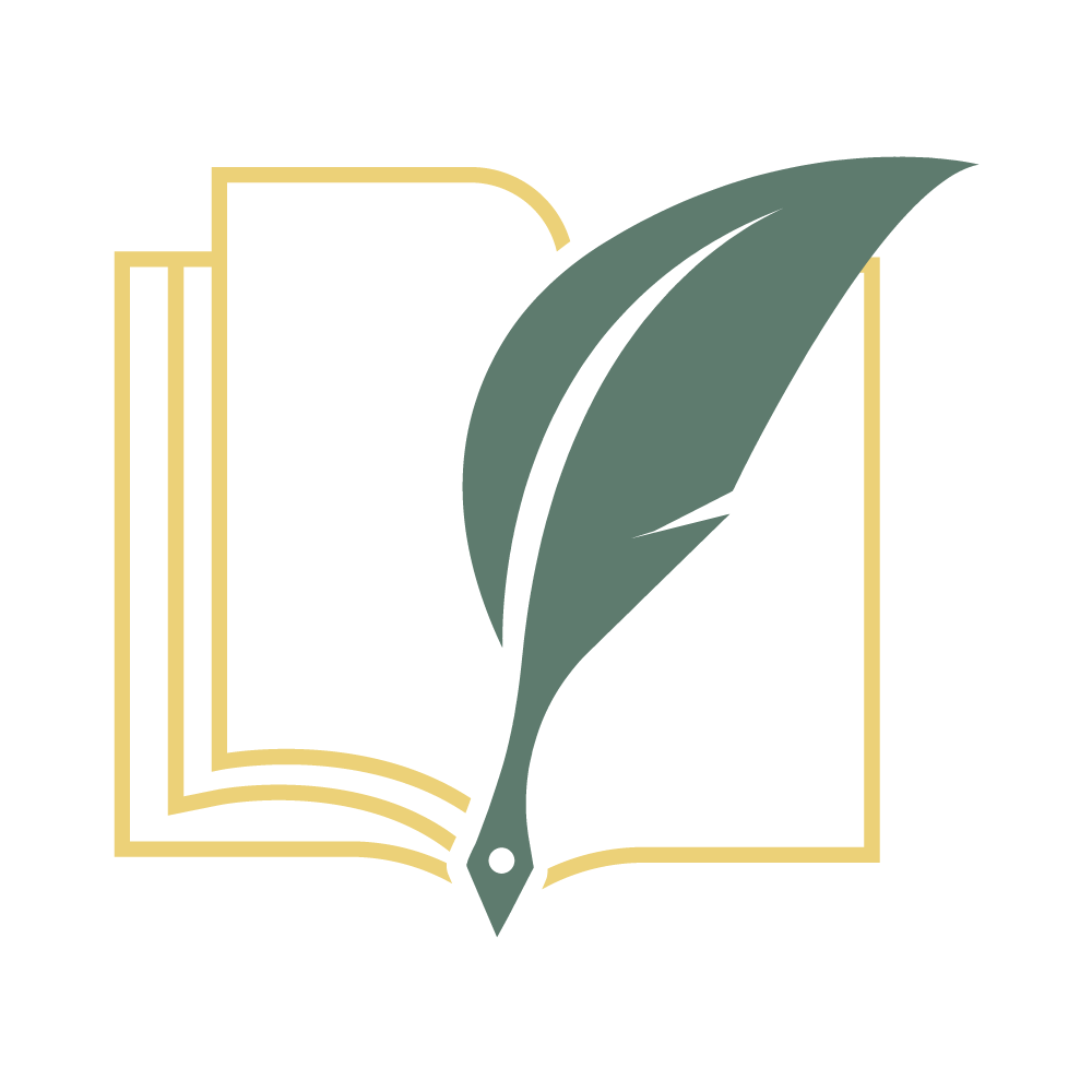 logo icon - outline of open book in yellow with a dark green quill pen in the middle; white background.