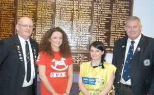 Secretary Graham Hockaday, Kirsty Dugan (CHAS), Fiona Beaton (Marie Curie) & President Duncan McLaren