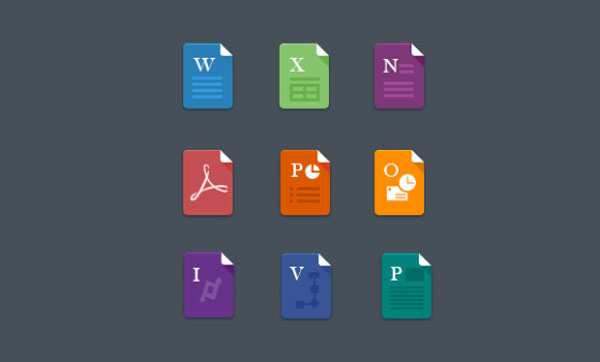 Flat MS Office icons