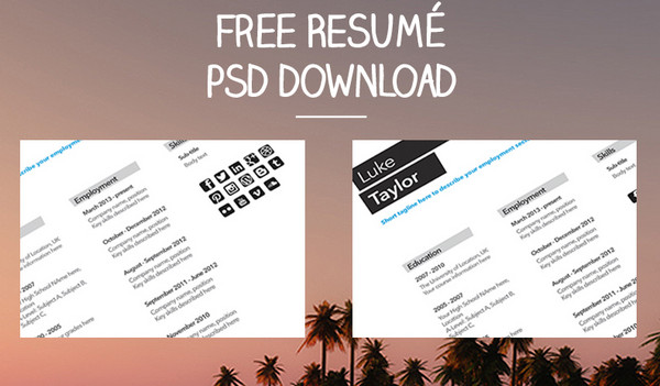one time resume template