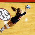 Camilla jersonkey serves during auburn s volleyball game against the