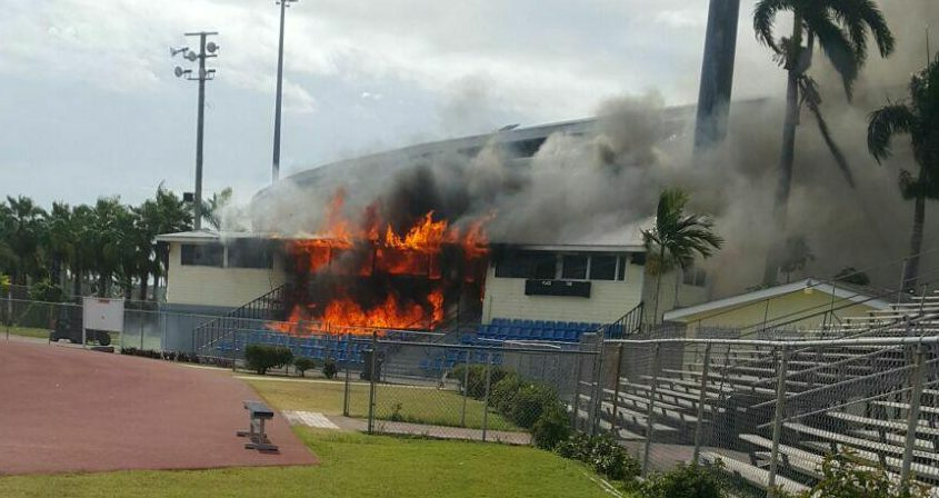 Announcer's booth at old stadium goes up in flames