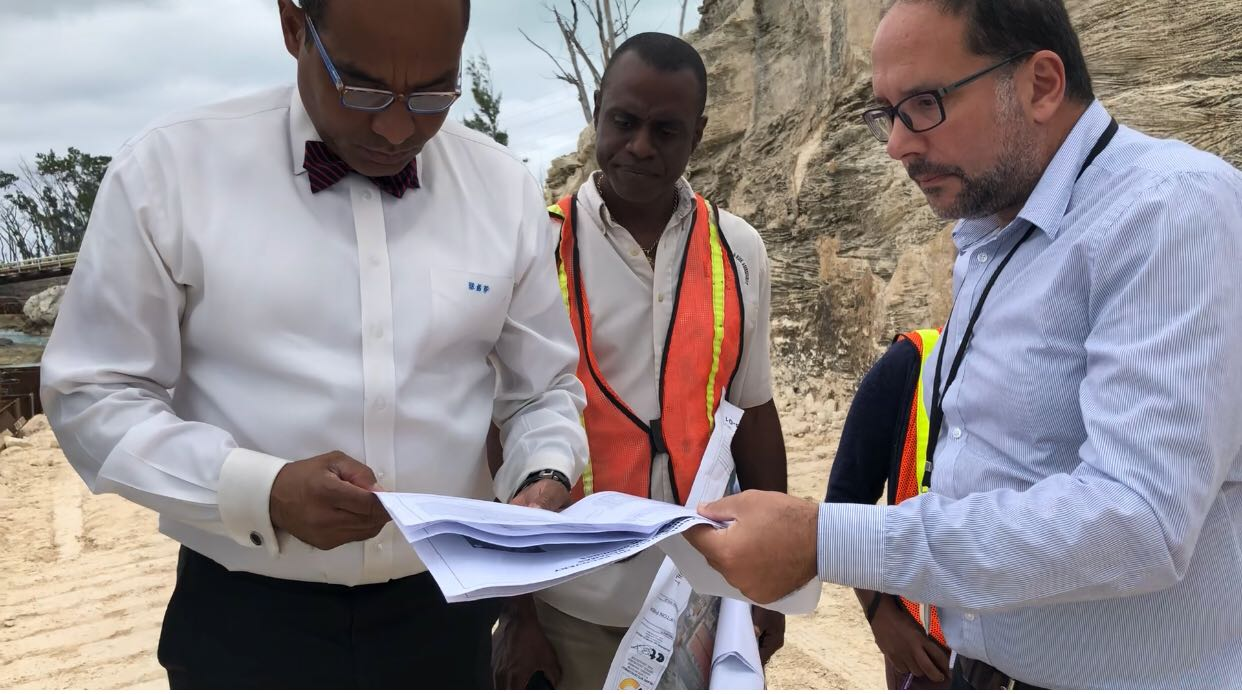 Environment Minister Ferreira inspects $10m Clifton Pieroil containment construction project