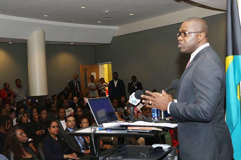 Legal Affairs State Minister Johnson addressed public forum on the Interception of Communications Bill