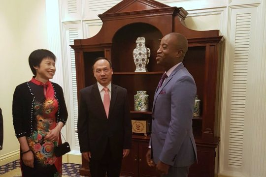 his excellency huang qinquo and his wife madame zheng chuncao during the celebration commemorating the opening of the 2018 chinese new year