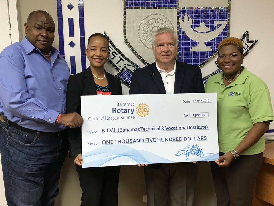 BTVI receives donation from Rotary Club of Nassau Sunrise