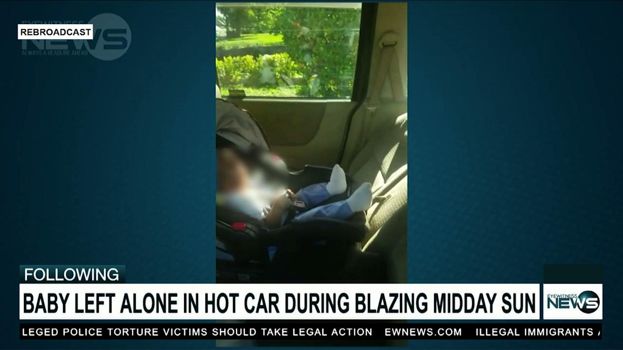 Baby left in hot, locked car