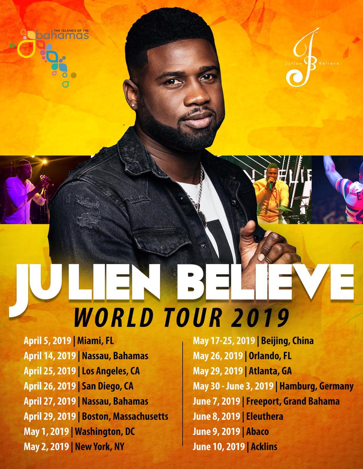 Julien Believe's 2019 world tour covers the US, China, Germany and his beloved Bahamas