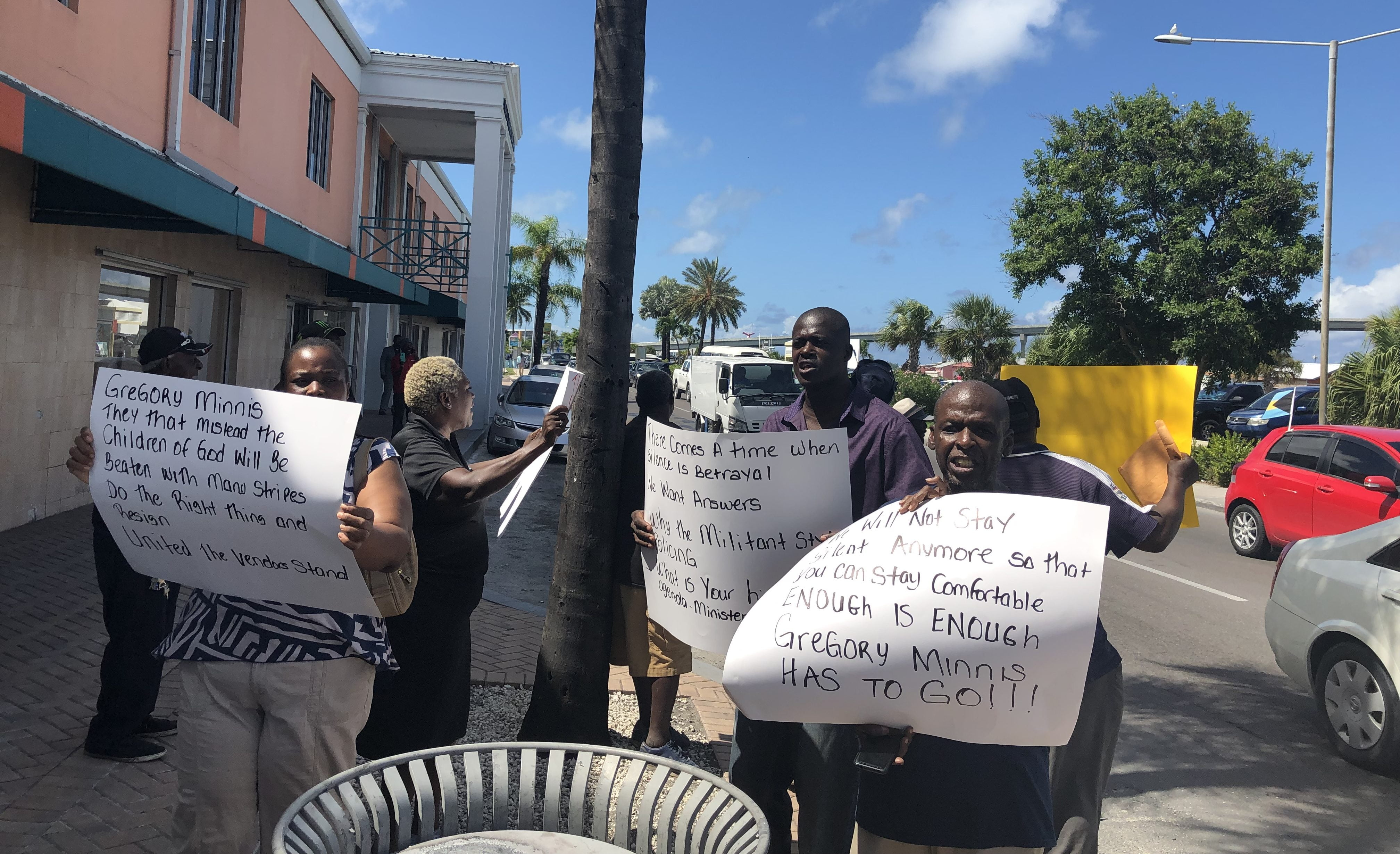 Potter's Cay vendors demonstrate against dock manager