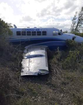 Plane veers off runway in Exuma