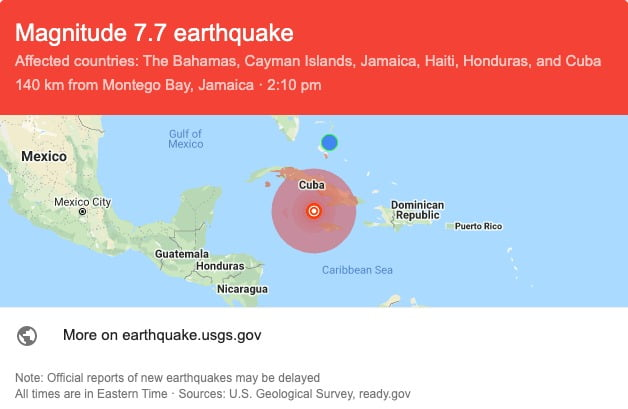 Major earthquake hits parts of Jamaica, tremors felt downtown Nassau