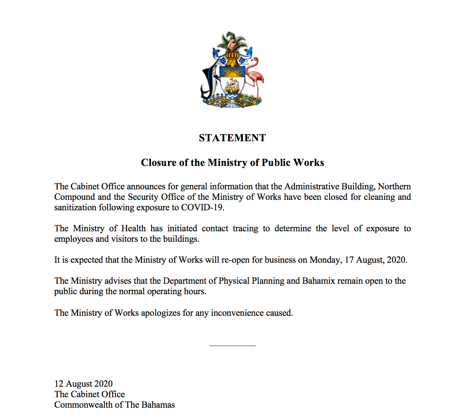 Ministry of Works partial closure due to COVID-19 exposure