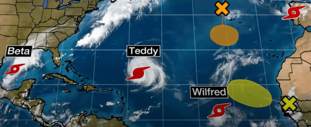 Hurricane Teddy and TS Wilfred, Alpha and Beta form in Atlantic