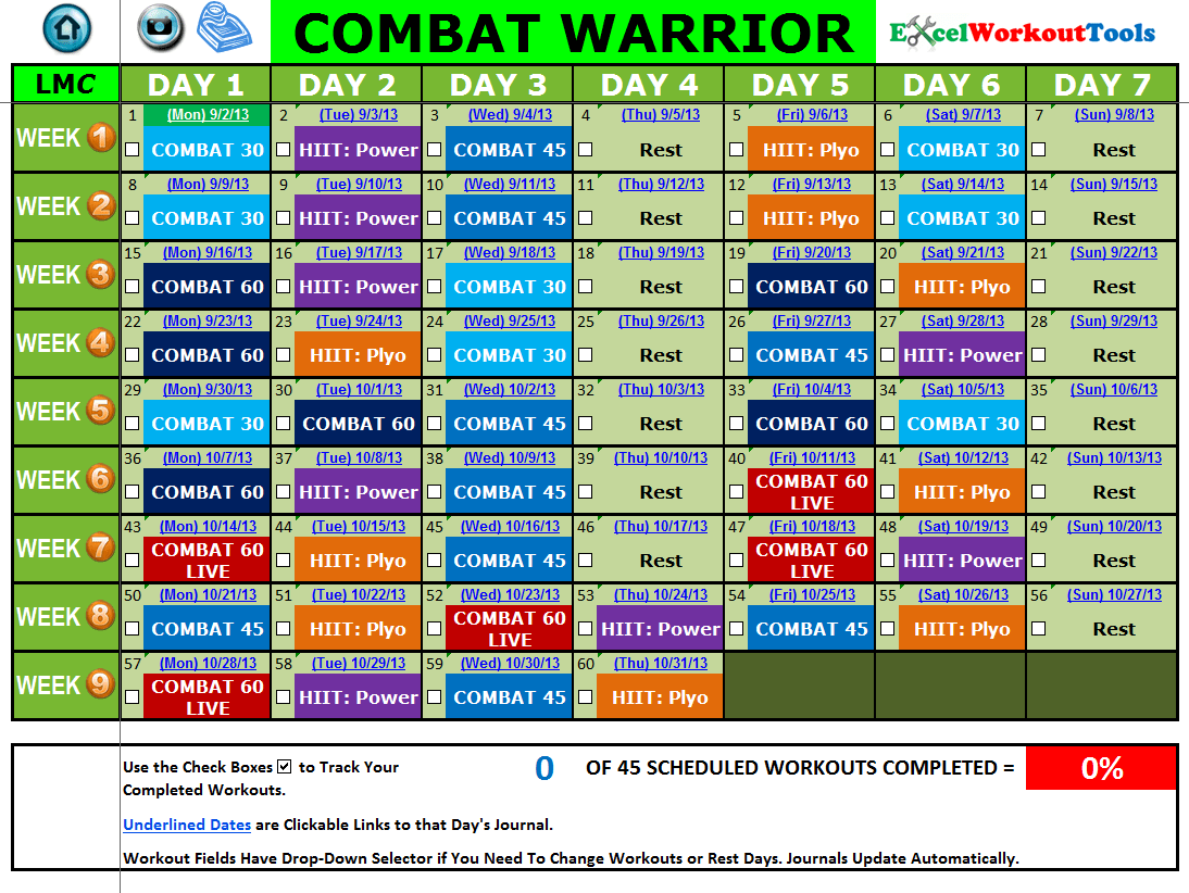 Les Mills Body Combat Workout Calendar