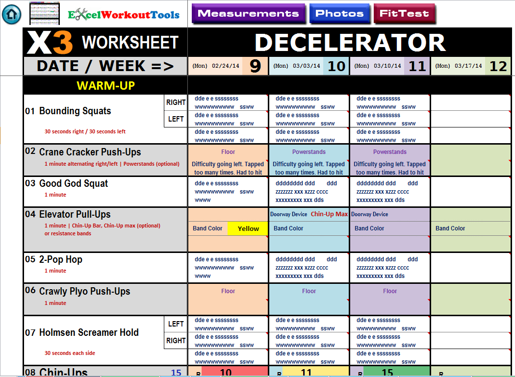 P90x3 Workout Schedule Excel Spreadsheet