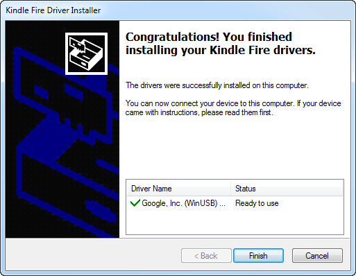 Kindle Fire driver installation confirmation.