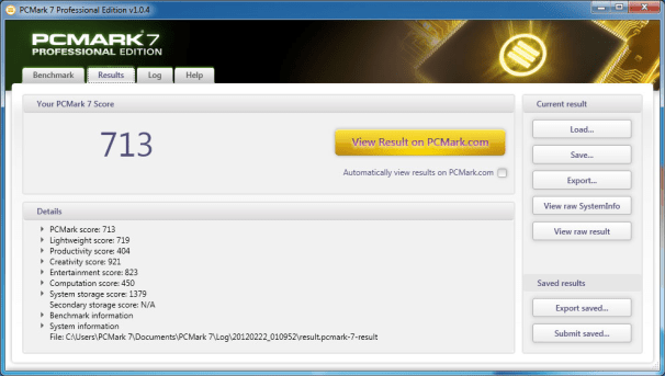 Benchmark Your PC: Futuremark PCMark 7; click for full-size image.