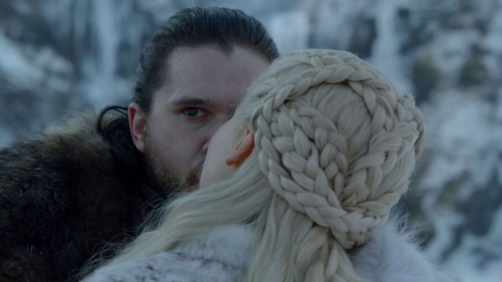 Jon Snow makes some great eye contact with Drogon mid kiss