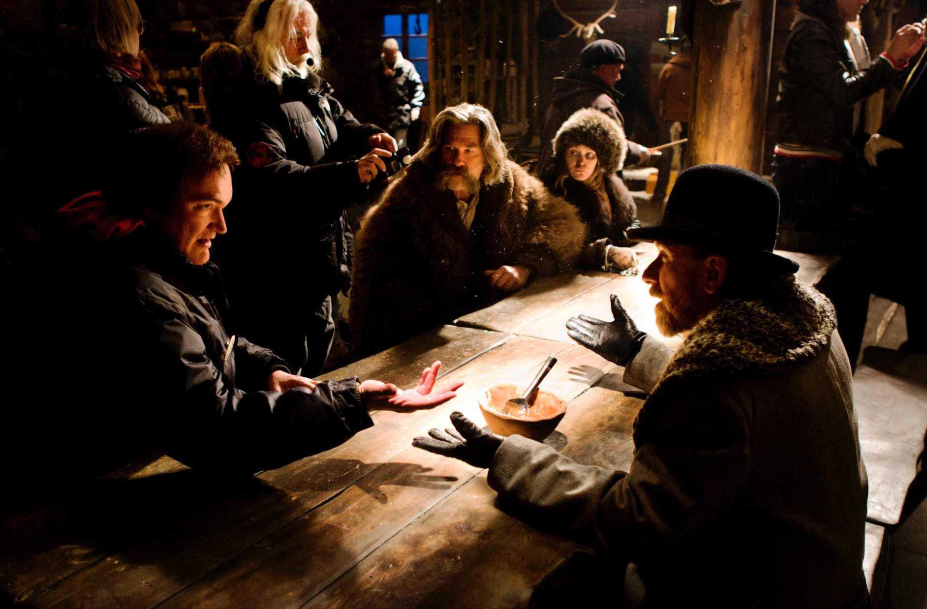 Quentin Tarantino, Kurt Russelll, Tim Roth and Jennifer Jason Leigh on the set of The Hateful Eight
