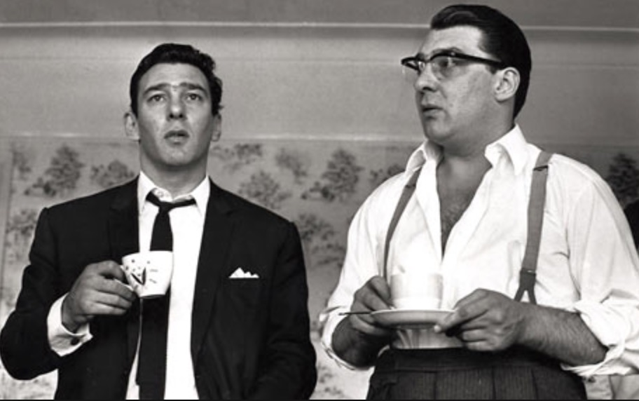 An archival photo of Reggie and Ronnie Kray
