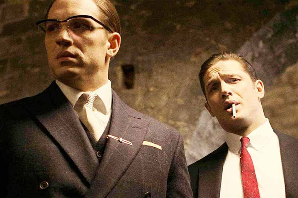 Tom Hardy as Ronnie and Reggie Kray in movie Legend