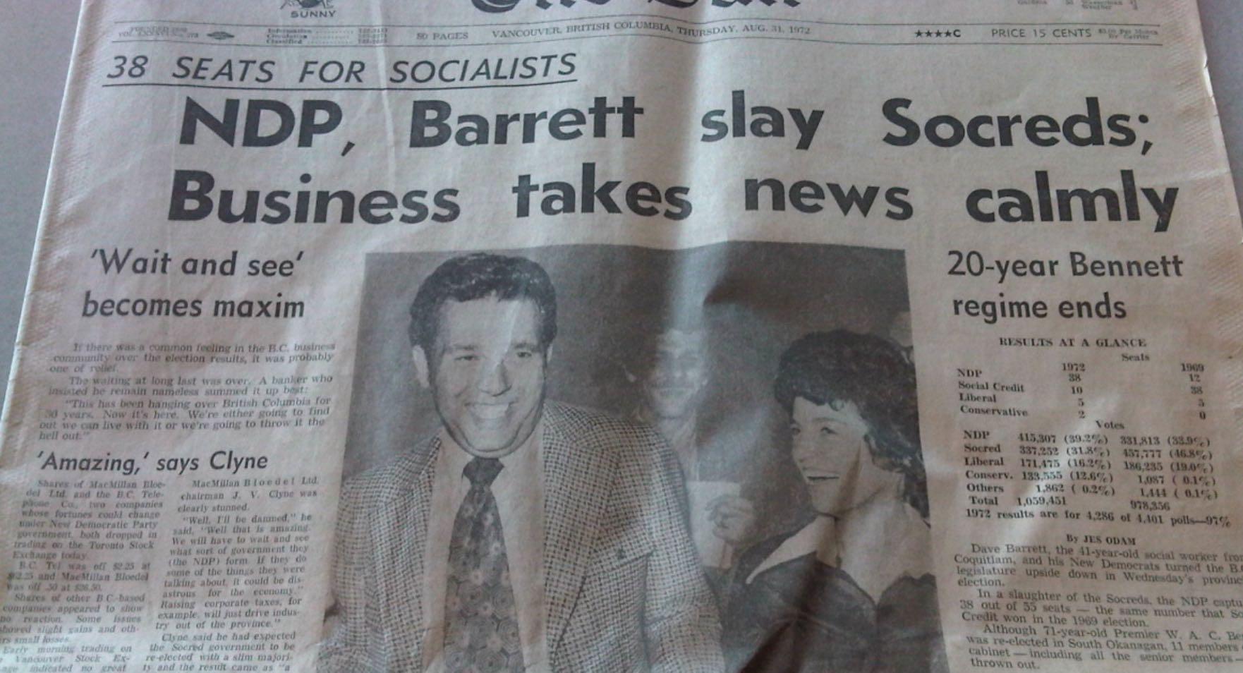 Dave Barrett Vancouver Sun Cover 1972
