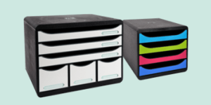 Exacompta plastic desk drawers featuring BIG-BOX accessories