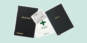 Exacompta business books including visitors, first aid and minute books for business use