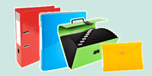 Exacompta Iderama colourful stationery collection such as lever arch files and organisers