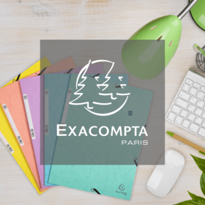 Exacompta logo in front of pastel-coloured elasticated filing products
